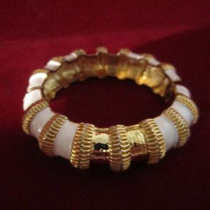 Vintage Enamel White and Goldtone Cuff Bracelet